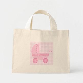 Carrinho de criança de bebê. Luz - rosa no guingão Bolsas Para Compras