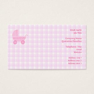 Carrinho de criança de bebê. Luz - rosa no guingão Cartão De Visitas