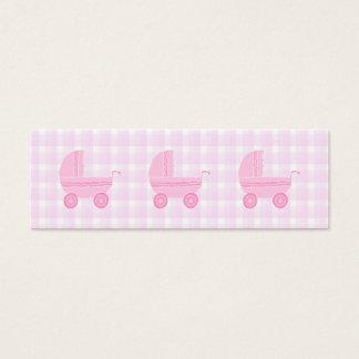 Carrinho de criança de bebê. Luz - rosa no guingão Cartão De Visitas Mini