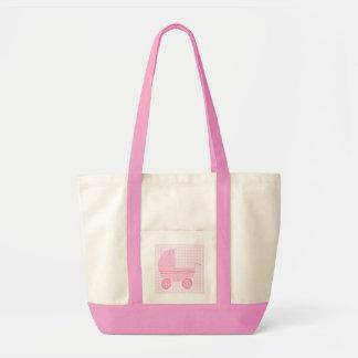 Carrinho de criança de bebê. Luz - rosa no guingão Sacola Tote Impulse