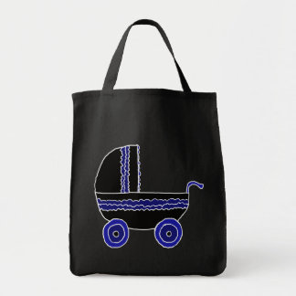 Carrinho de criança de bebê preto e azul bolsa de lona