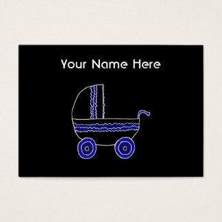 Carrinho de criança de bebê preto e azul cartão de visitas