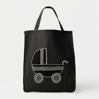 Carrinho de criança de bebê preto e branco sacola tote de mercado
