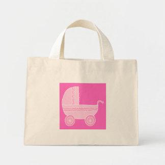 Carrinho de criança de bebê. Rosa cor-de-rosa e br Bolsa Para Compras