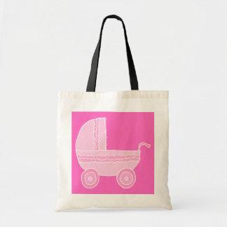 Carrinho de criança de bebê. Rosa cor-de-rosa e br Bolsa Para Compra