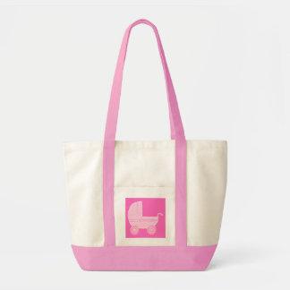 Carrinho de criança de bebê. Rosa cor-de-rosa e br Bolsa Tote