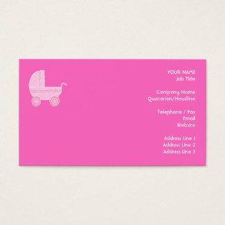 Carrinho de criança de bebê. Rosa cor-de-rosa e Cartão De Visitas
