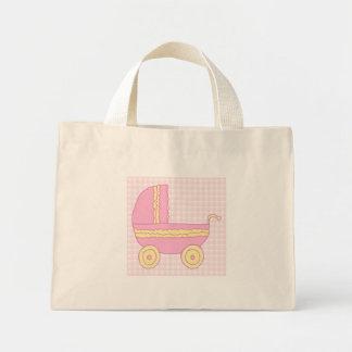 Carrinho de criança de bebê. Rosa e amarelo na ver Bolsas De Lona