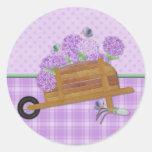 Carrinho de mão 2 do Lilac Adesivo Redondo