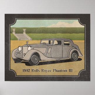 Carro 1937 das cinzas de prata do vintage pôster