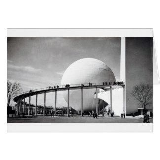 Carro 1939 da feira de mundo de Trylon & de Cartão Comemorativo
