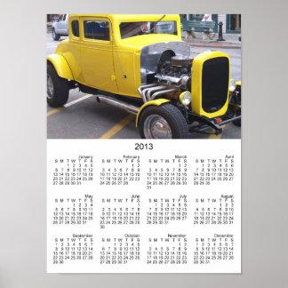 Carro amarelo clássico impressão