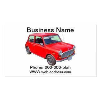 Carro antigo vermelho de Mini Cooper Cartao De Visita