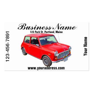Carro antigo vermelho de Mini Cooper Modelo Cartões De Visita