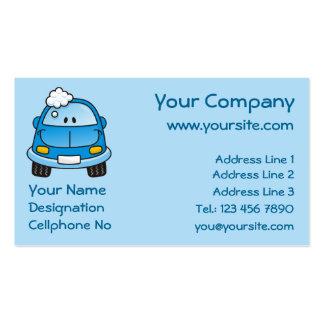 Carro azul com bolhas cartão de visita