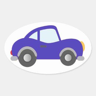 Carro azul do cupé dos desenhos animados adesivo oval