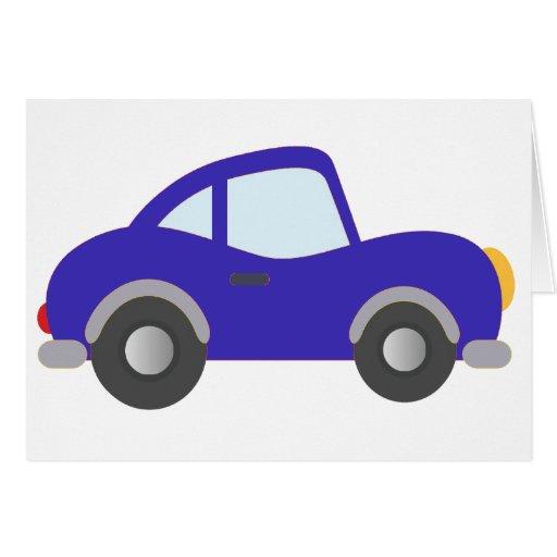 Carro azul do cupé dos desenhos animados cartoes