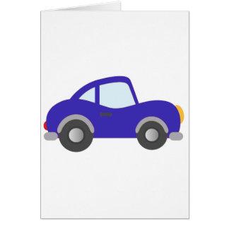 Carro azul do cupé dos desenhos animados cartão comemorativo