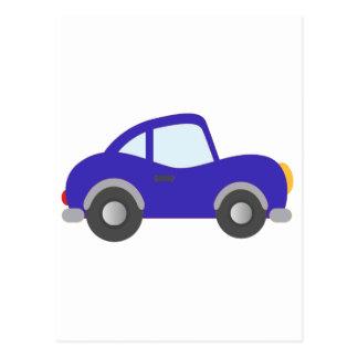 Carro azul do cupé dos desenhos animados cartoes postais