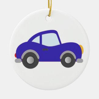 Carro azul do cupé dos desenhos animados ornamento de cerâmica redondo