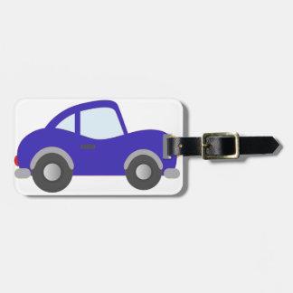 Carro azul do cupé dos desenhos animados tag de mala