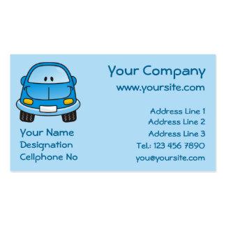 Carro azul dos desenhos animados cartão de visita