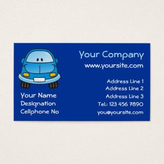 Carro azul dos desenhos animados cartão de visitas