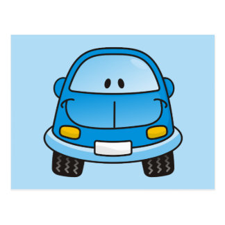 Carro azul dos desenhos animados cartão postal