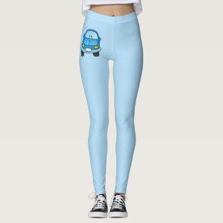 Carro azul dos desenhos animados leggings