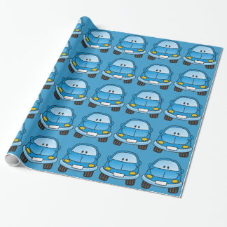 Carro azul dos desenhos animados papel de presente