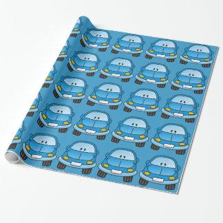 Carro azul dos desenhos animados papéis de embrulho