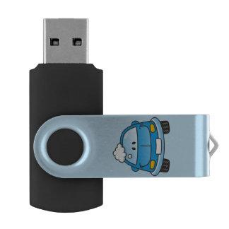 Carro azul dos desenhos animados pen drive giratório