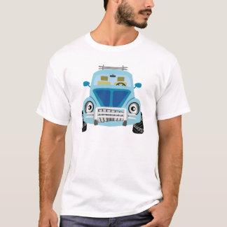 Carro azul dos desenhos animados t-shirt