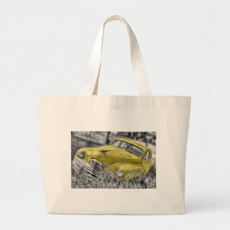 Carro clássico amarelo do vintage sacola tote jumbo