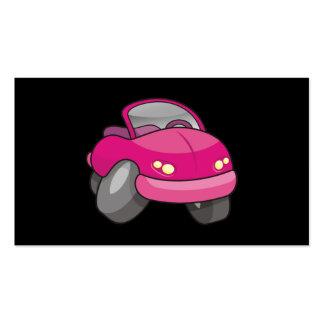Carro cor-de-rosa dos desenhos animados cartão de visita