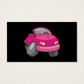 Carro cor-de-rosa dos desenhos animados cartão de visitas
