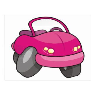 Carro cor-de-rosa dos desenhos animados cartões postais