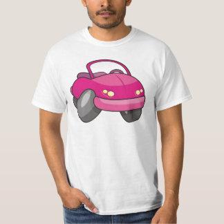 Carro cor-de-rosa dos desenhos animados t-shirt