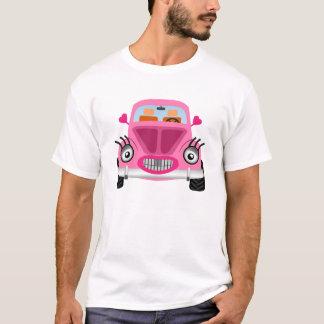 Carro cor-de-rosa dos desenhos animados tshirts