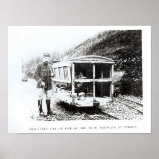 Carro da ambulância em uma das estradas de ferro c poster