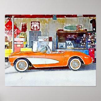 Carro da rota 66 de Vette do vintage Pôster