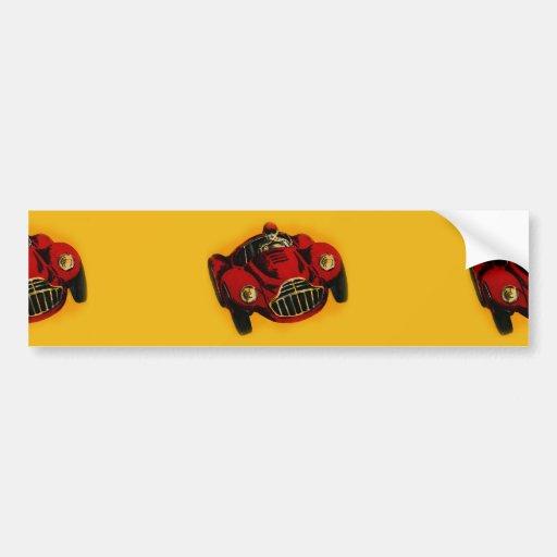 Carro de auto competência velho amarelo vermelho adesivos