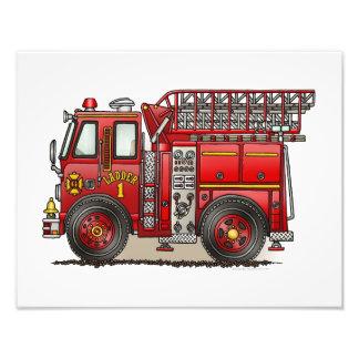 Carro de bombeiros da escada impressão fotográficas