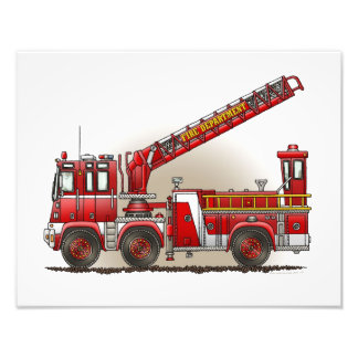 Carro de bombeiros de gancho e de escada impressão de foto