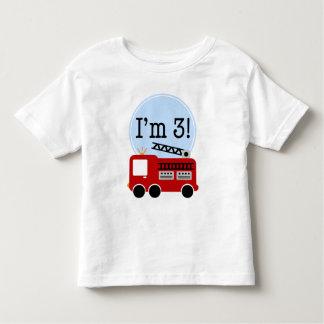Carro de bombeiros do aniversário de 3 anos camisetas