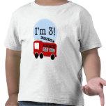 Carro de bombeiros do aniversário de 3 anos camiseta