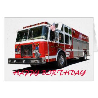 Carro de bombeiros do FELIZ ANIVERSARIO Cartão Comemorativo