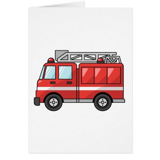 Carro de bombeiros legal/motor dos desenhos animad cartao