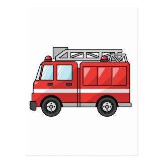 Carro de bombeiros legal motor dos desenhos animad cartão postal
