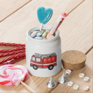 Carro de bombeiros legal motor dos desenhos animad potes de doces